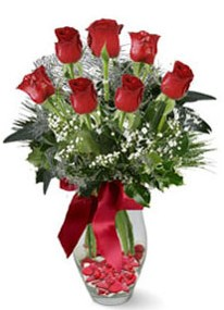 Aydın incir çiçek internetten çiçek siparişi  7 adet kirmizi gül cam vazo yada mika vazoda