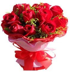 9 adet kirmizi güllerden kipkirmizi buket  Aydın incir çiçek çiçekçiler