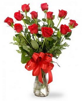 Aydın incir çiçek çiçek , çiçekçi , çiçekçilik  12 adet kırmızı güllerden vazo tanzimi