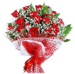 11 kırmızı gülden buket  Aydın incir çiçek 14 şubat sevgililer günü çiçek