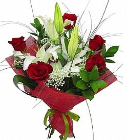 1 dal kazablanka 5 kırmızı gül buketi  Aydın incir çiçek kaliteli taze ve ucuz çiçekler