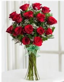 Cam vazo içerisinde 11 kırmızı gül vazosu  Aydın incir çiçek anneler günü çiçek yolla