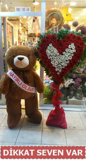 1.5 Metre peluş ayı ve Kalp  Aydın incir çiçek çiçek gönderme sitemiz güvenlidir