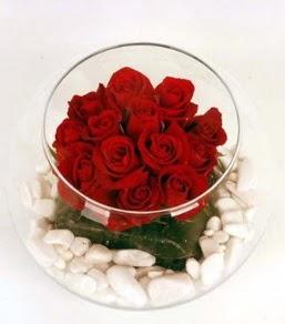 Cam fanusta 11 adet kırmızı gül  Aydın incir çiçek çiçek gönderme