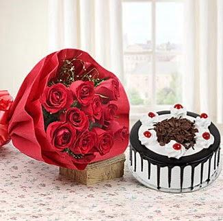 12 adet kırmızı gül 4 kişilik yaş pasta  Aydın incir çiçek çiçek , çiçekçi , çiçekçilik