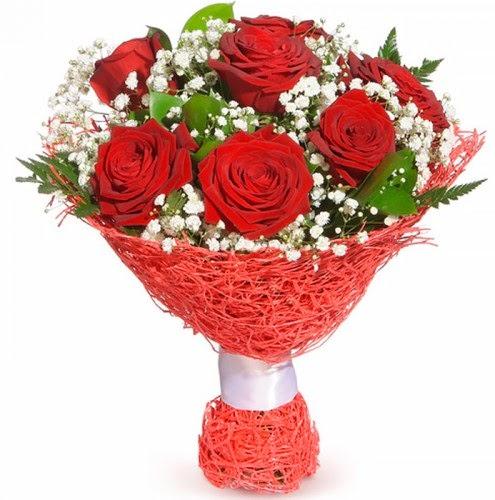 7 adet kırmızı gül buketi  Aydın incir çiçek çiçekçiler
