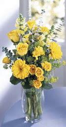 Aydın incir çiçek online çiçek gönderme sipariş  sari güller ve gerbera cam yada mika vazo