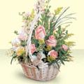 Aydın incir çiçek 14 şubat sevgililer günü çiçek  sepette pembe güller