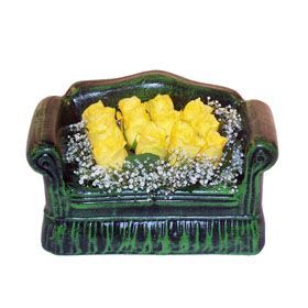 Seramik koltuk 12 sari gül   Aydın incir çiçek ucuz çiçek gönder