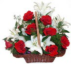 sepette gül ve kazablankalar   Aydın incir çiçek çiçekçi mağazası