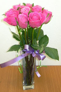 cam vazo içerisinde 11 adet gül  Aydın incir çiçek internetten çiçek satışı