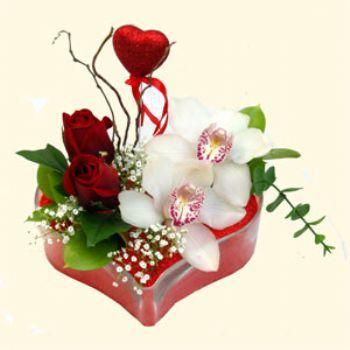 Aydın incir çiçek hediye sevgilime hediye çiçek  1 kandil orkide 5 adet kirmizi gül mika kalp
