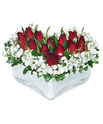 Aydın incir çiçek internetten çiçek siparişi  mika kalp içerisinde 9 adet kirmizi gül