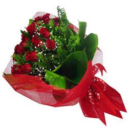 Aydın incir çiçek kaliteli taze ve ucuz çiçekler  12 adet kirmizi essiz gül buketi - SEVENE ÖZEL
