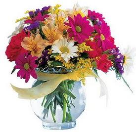 Aydın incir çiçek internetten çiçek satışı  cam yada mika içerisinde karisik mevsim çiçekleri