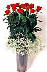Aydın incir çiçek cicek , cicekci  9 adet kirmizi gül cam yada mika vazoda