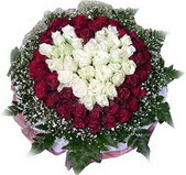 Aydın incir çiçek çiçek mağazası , çiçekçi adresleri  27 adet kirmizi ve beyaz gül sepet içinde