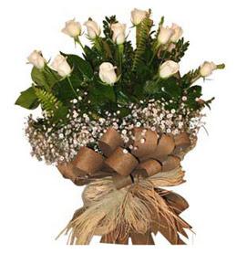 Aydın incir çiçek çiçekçi telefonları  9 adet beyaz gül buketi