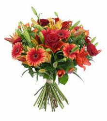 Aydın incir çiçek çiçek gönderme  3 adet kirmizi gül ve karisik kir çiçekleri demeti
