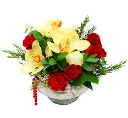 Aydın incir çiçek çiçek gönderme  1 adet orkide 5 adet gül cam yada mikada