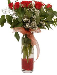 Aydın incir çiçek uluslararası çiçek gönderme  11 adet kirmizi gül vazo çiçegi