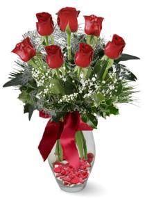 7 adet vazoda gül  Aydın incir çiçek internetten çiçek satışı  kirmizi gül