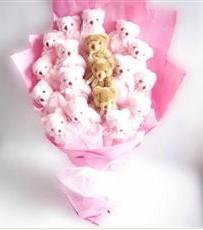 17 adet pelus ayicik buketi  Aydın incir çiçek incir çiçek İnternetten çiçek siparişi