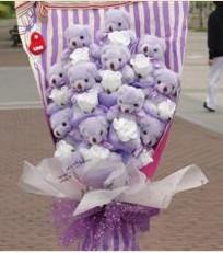 11 adet pelus ayicik buketi  Aydın incir çiçek çiçek gönderme sitemiz güvenlidir