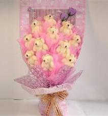 11 adet pelus ayicik buketi  Aydın incir çiçek çiçek yolla