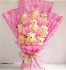 9 adet pelus ayicik buketi  Aydın incir çiçek anneler günü çiçek yolla