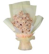 11 adet pelus ayicik buketi  Aydın incir çiçek ucuz çiçek gönder