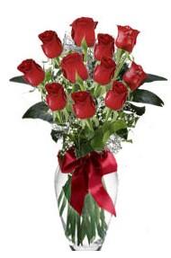 11 adet kirmizi gül vazo mika vazo içinde  Aydın incir çiçek 14 şubat sevgililer günü çiçek