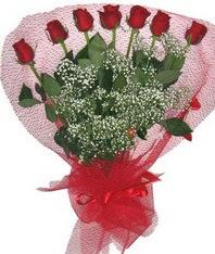 7 adet kipkirmizi gülden görsel buket  Aydın incir çiçek çiçek mağazası , çiçekçi adresleri