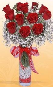 10 adet kirmizi gülden vazo tanzimi  Aydın incir çiçek çiçek siparişi sitesi