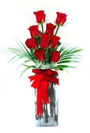 Aydın incir çiçek çiçekçi telefonları  9 adet mika yada cam vazoda gül tanzimi