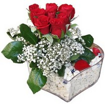 Aydın incir çiçek güvenli kaliteli hızlı çiçek  kalp mika içerisinde 7 adet kirmizi gül