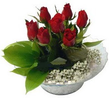 Aydın incir çiçek internetten çiçek satışı  cam yada mika içerisinde 5 adet kirmizi gül