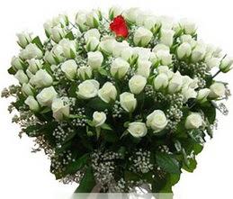Aydın incir çiçek internetten çiçek satışı  100 adet beyaz 1 adet kirmizi gül buketi