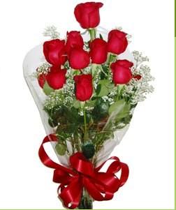 Aydın incir çiçek uluslararası çiçek gönderme  10 adet kırmızı gülden görsel buket