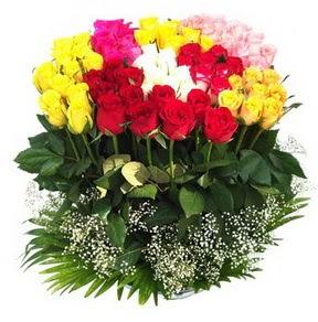 Aydın incir çiçek çiçek mağazası , çiçekçi adresleri  51 adet renkli güllerden aranjman tanzimi