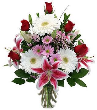 Aydın incir çiçek çiçek mağazası , çiçekçi adresleri  1 dal kazablanka 5 gül ve kırçiçeği vazosu