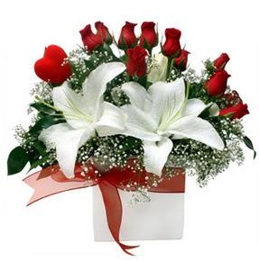 Aydın incir çiçek çiçekçi mağazası  1 dal kazablanka 11 adet kırmızı gül vazosu