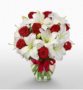 Aydın incir çiçek hediye çiçek yolla  1 dal kazablanka 11 adet kırmızı gül vazosu