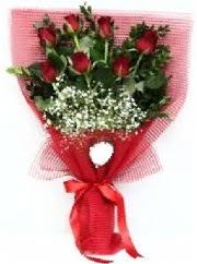 7 adet kırmızı gülden buket tanzimi  Aydın incir çiçek cicek , cicekci