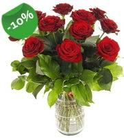 11 adet vazo içerisinde kırmızı gül  Aydın incir çiçek online çiçek gönderme sipariş