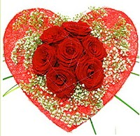 Mika kalp içerisinde 7 adet kırmızı gül  Aydın incir çiçek çiçekçi mağazası