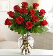 Vazo içerisinde 12 kırmızı gül  Aydın incir çiçek çiçek satışı