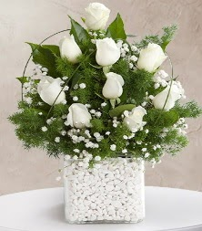 9 beyaz gül vazosu  Aydın incir çiçek çiçek satışı