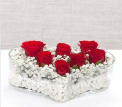 kalp içerisinde 7 adet kırmızı gül  Aydın incir çiçek çiçek siparişi vermek
