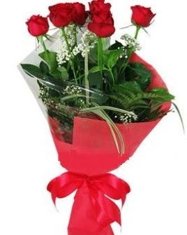5 adet kırmızı gülden buket  Aydın incir çiçek kaliteli taze ve ucuz çiçekler